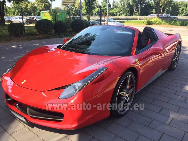 Hire and delivery to Vienna International Airport the car Ferrari 458 Italia Spider Cabrio Red