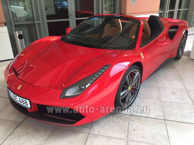 Hire and delivery to Vienna International Airport the car Ferrari 488 GTB Spider Cabrio